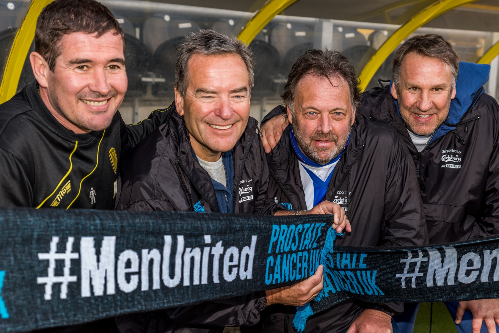 Stelling's March to the Arch_From L-R_Nigel Clough, Jeff Stelling, Russ ...