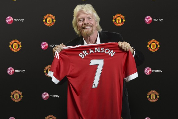 Richard Branson announcing Virgin Money's partnership with Manchester United photographed in Kidlington, Oxfordshire, UK. Photo: Visionhaus/Gary Prior