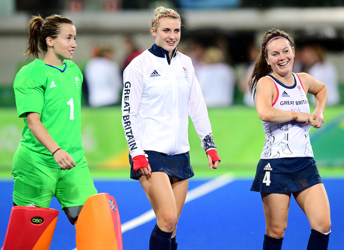 RIO - Women's Olympic Hockey tournament QF3 Great Britain - Spain Foto: Maddie Hinch, Lily Owsley and Laura Unsworth. WORLDSPORTPICS COPYRIGHT FRANK UIJLENBROEK
