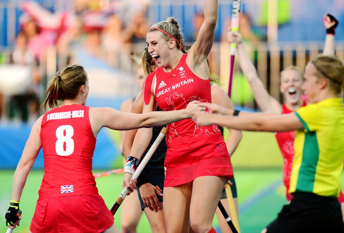 RIO - Women's Olympic Hockey tournament Gold medal match: Netherlands - Great Britain Foto: Lily Owsley celebrating. WORLDSPORTPICS COPYRIGHT FRANK UIJLENBROEK