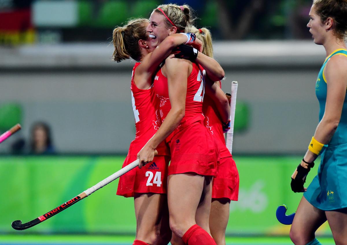 RIO - Women's Olympic Hockey tournament 02 Great Britain - Australia foto: Lily Owsley scored, celebrating with Shona McCallin. WORLDSPORTPICS COPYRIGHT FRANK UIJLENBROEK