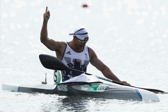 RIO DE JANEIRO, BRAZIL - AUGUST 20:  Liam Heath of Great Britain celebrates winning the gold medal in the Men's Kayak Single 200m Finals on Day 15 of the Rio 2016 Olympic Games at the Lagoa Stadium on August 20, 2016 in Rio de Janeiro, Brazil.  (Photo by Ezra Shaw/Getty Images)