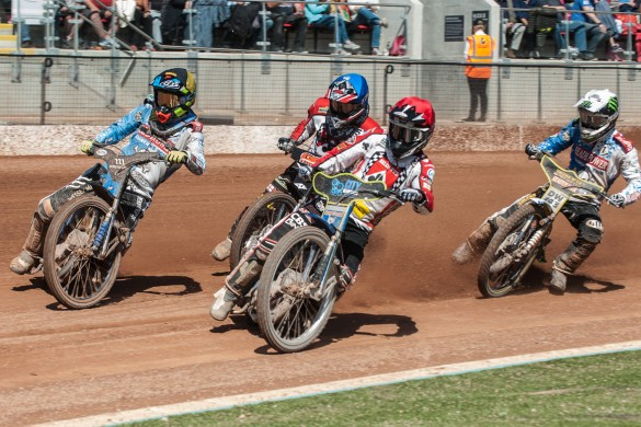 Photo by Ian Charles:  Belle Vue Aces Max Fricke (Red) inside Adam Ellis (Yellow/Black) with Craig Cook (Blue) and Chris Holder (White) behind  Belle Vue Rentruck' Aces v Poole 'Readypower' Pirates, Elite League  29 August 2016
