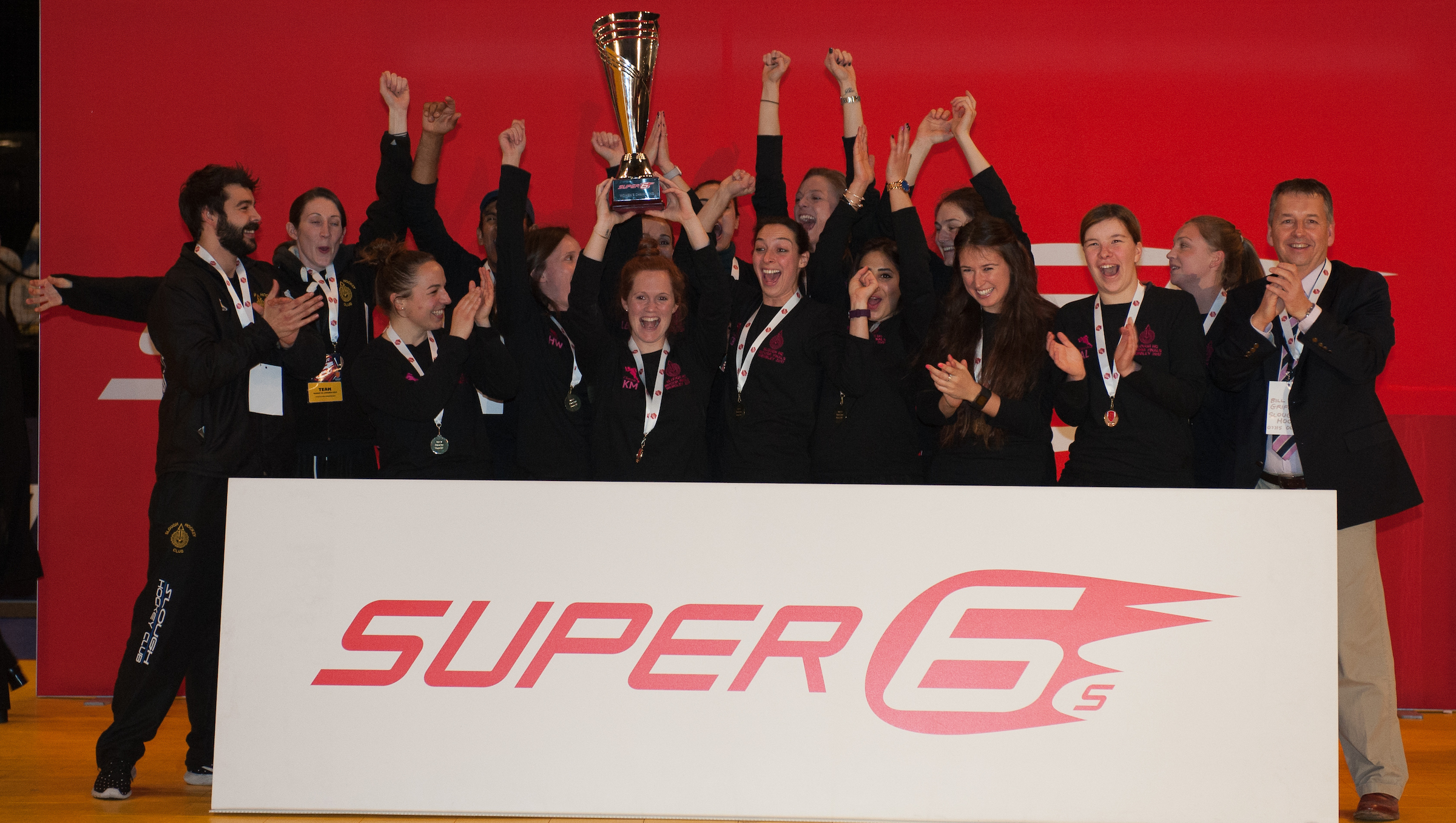 Slough lift the trophy - Final Super 6s, SSE Arena, Wembley, London, UK on 29 January 2017. Photo: Simon Parker