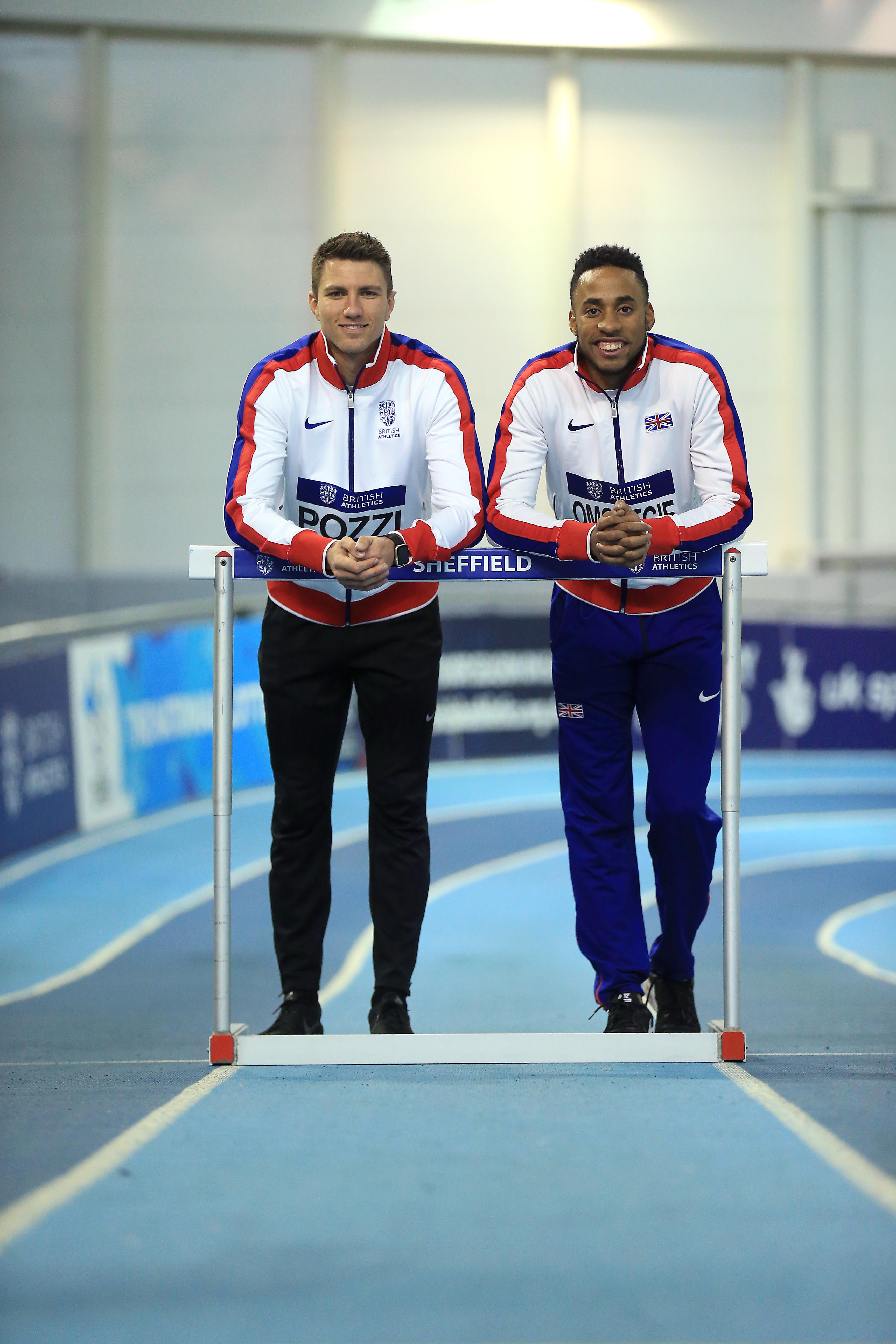 SHEFFIELD, ENGLAND - FEBRUARY 10: Andrew Pozzi and David Omoregie of Great Britain during a photo call ahead of the British Athletics Indoor Team Trials 2017 at the English Institute of Sport on February 10, 2017 in Sheffield, England. (Photo by Stephen Pond - British Athletics/British Athletics via Getty Images)