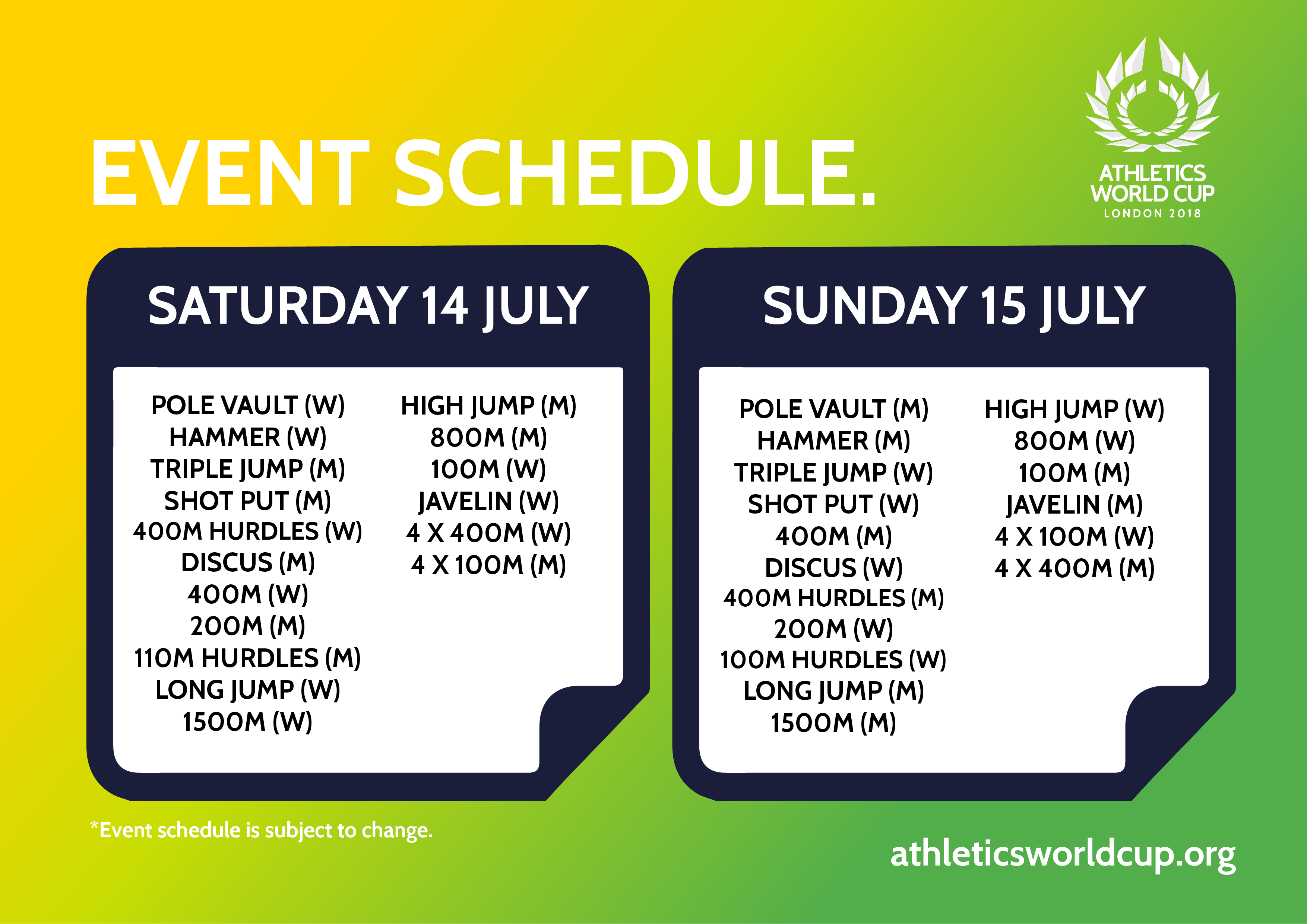 event schedule revealed ahead of inaugural athletics world cup the